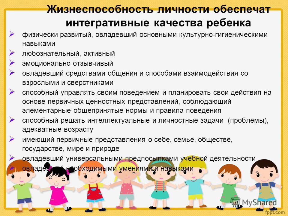 Жизнеспособность личности обеспечат интегративные качества ребенка физически развитый, овладевший основными культурно-гигиеническими навыками любознательный, активный эмоционально отзывчивый овладевший средствами общения и способами взаимодействия со