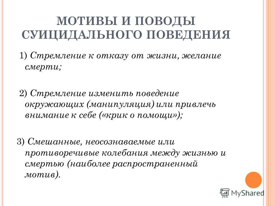 МОТИВЫ И ПОВОДЫ СУИЦИДАЛЬНОГО ПОВЕДЕНИЯ 1) Стремление к отказу от жизни, желание смерти; 2) Стремление изменить поведение окружающих (манипуляция) или привлечь внимание к себе («крик о помощи»); 3) Смешанные, неосознаваемые или противоречивые колебан