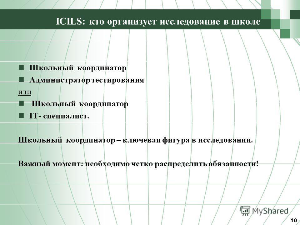 ICILS: кто организует исследование в школе Школьный координатор Администратор тестирования или Школьный координатор IT- специалист. Школьный координатор – ключевая фигура в исследовании. Важный момент: необходимо четко распределить обязанности! 10