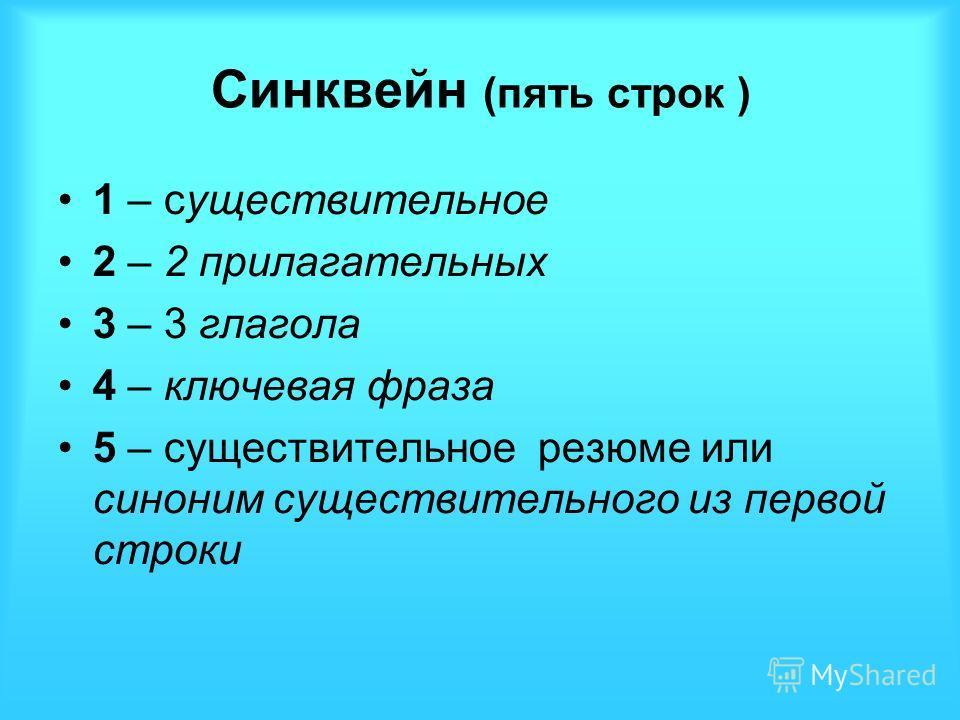 Синквейн (пять строк ) 1 – существительное 2 – 2 прилагательных 3 – 3 глагола 4 – ключевая фраза 5 – существительное резюме или синоним существительного из первой строки