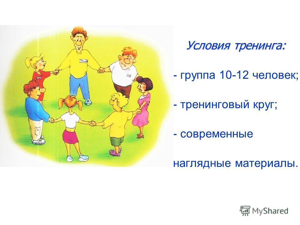 Условия тренинга: Условия тренинга: - группа 10-12 человек; - тренинговый круг; - современные наглядные материалы.