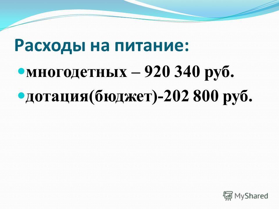 Расходы на питание: многодетных – 920 340 руб. дотация(бюджет)-202 800 руб.