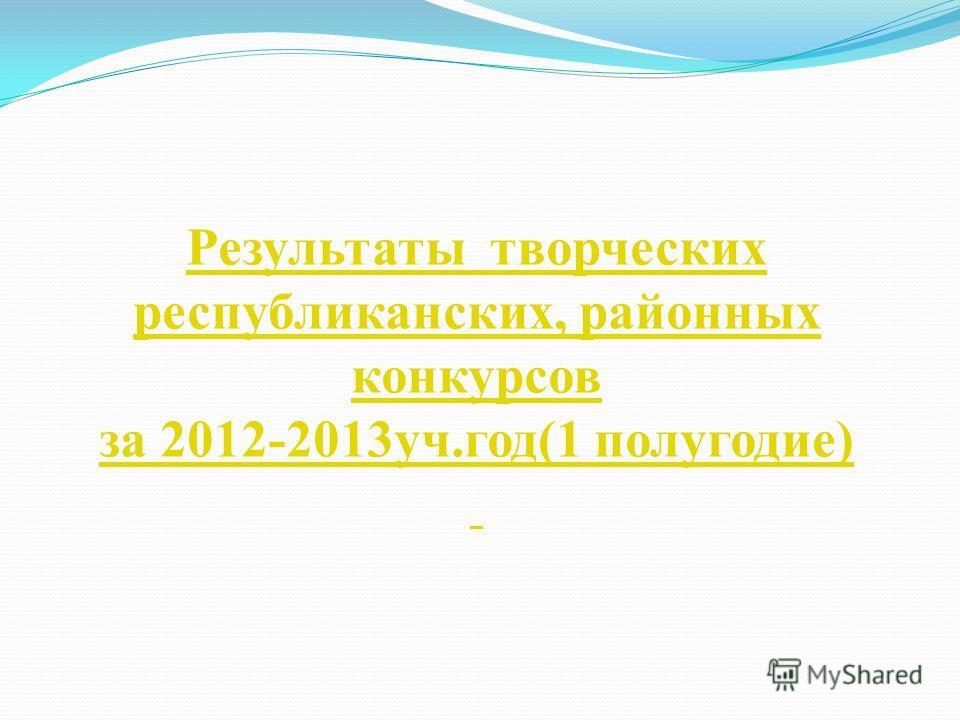 Результаты творческих республиканских, районных конкурсов за 2012-2013уч.год(1 полугодие)