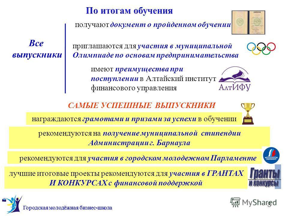 8 Городская молодёжная бизнес-школа Все выпускники получают документ о пройденном обучении приглашаются для участия в муниципальной Олимпиаде по основам предпринимательства имеют преимущества при поступлении в Алтайский институт финансового управлени