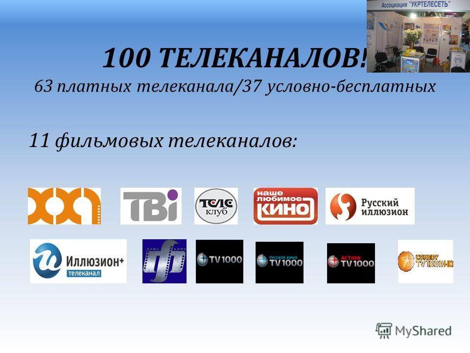 100 ТЕЛЕКАНАЛОВ! 63 платных телеканала/37 условно-бесплатных 11 фильмовых телеканалов: