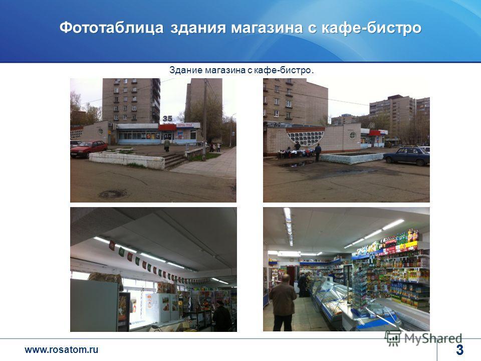 www.rosatom.ru 3 Фототаблица здания магазина с кафе-бистро 3 Здание магазина с кафе-бистро.