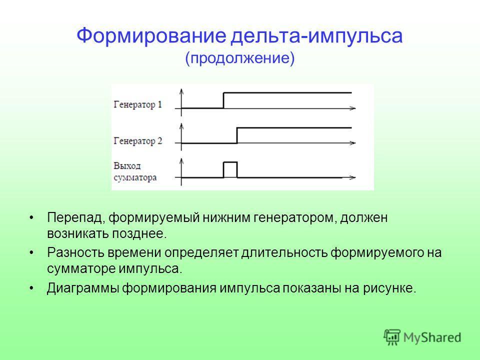 Формирование дельта-импульса (продолжение) Перепад, формируемый нижним генератором, должен возникать позднее. Разность времени определяет длительность формируемого на сумматоре импульса. Диаграммы формирования импульса показаны на рисунке.