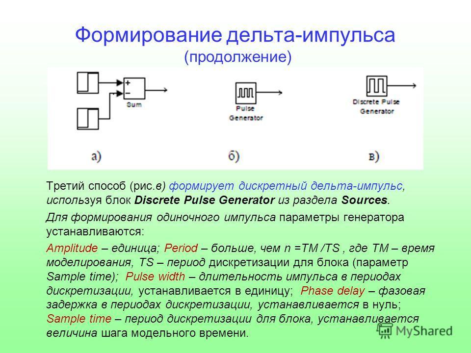 Формирование дельта-импульса (продолжение) Третий способ (рис.в) формирует дискретный дельта-импульс, используя блок Discrete Pulse Generator из раздела Sources. Для формирования одиночного импульса параметры генератора устанавливаются: Amplitude – е