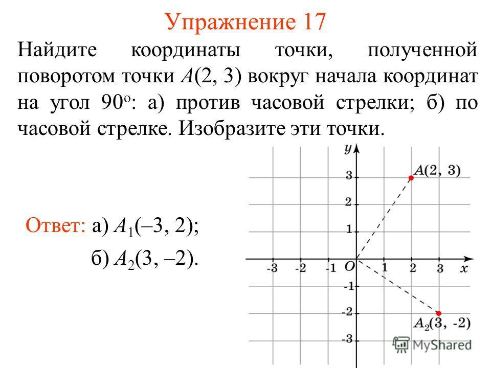 Упражнение 17 Найдите координаты точки, полученной поворотом точки A(2, 3) вокруг начала координат на угол 90 о : а) против часовой стрелки; б) по часовой стрелке. Изобразите эти точки. Ответ: а) A 1 (–3, 2); б) A 2 (3, –2).