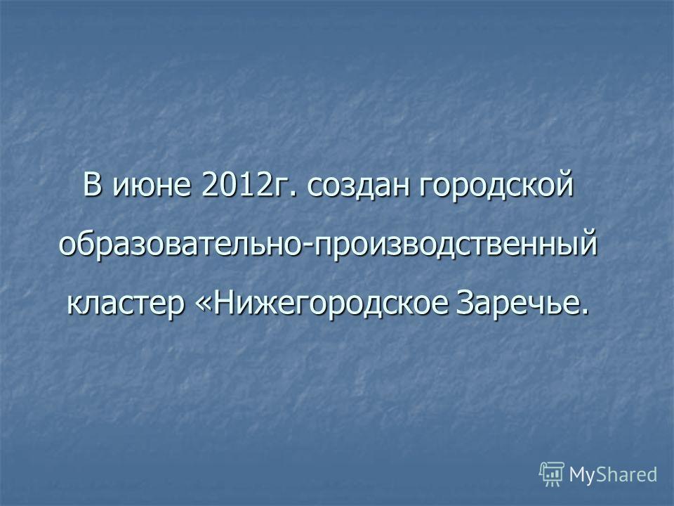 В июне 2012г. создан городской образовательно-производственный кластер «Нижегородское Заречье.