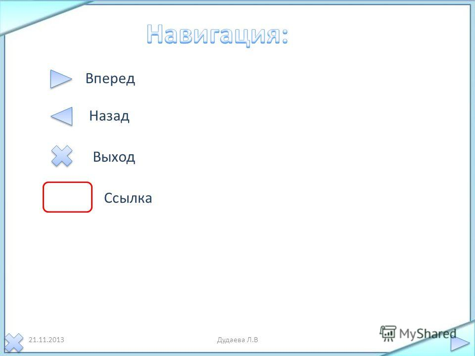 21.11.2013Дудаева Л.В Вперед Назад Выход Ссылка