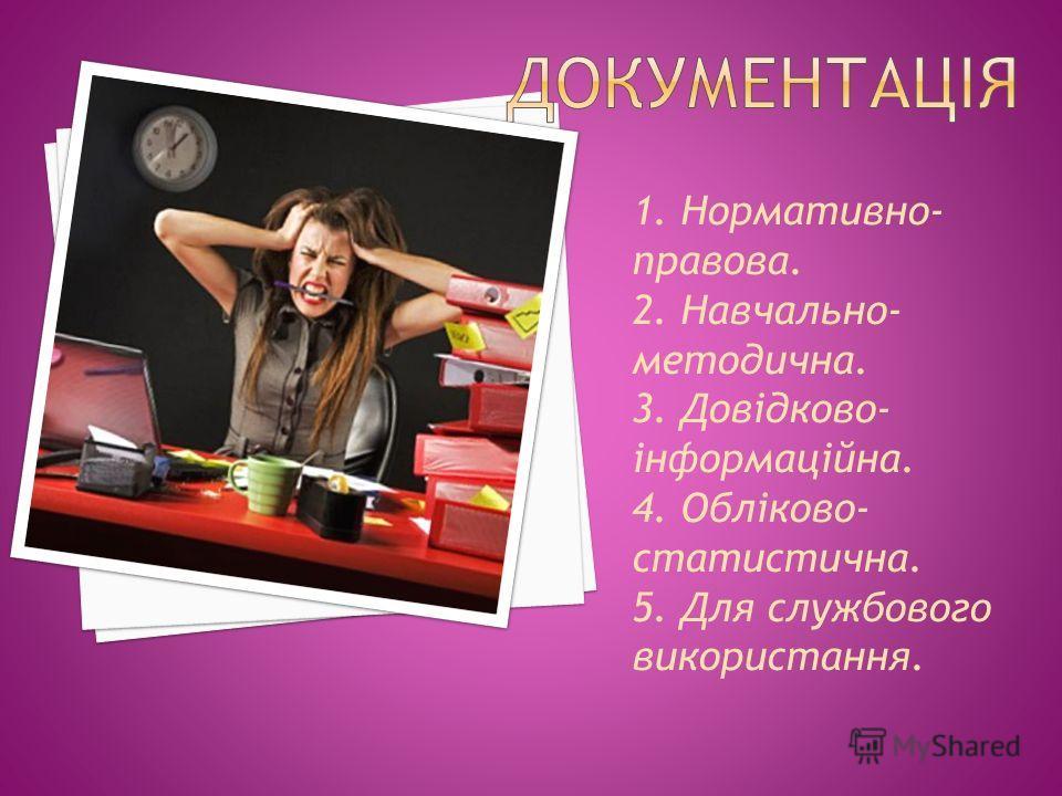1. Нормативно- правова. 2. Навчально- методична. 3. Довідково- інформаційна. 4. Обліково- статистична. 5. Для службового використання.