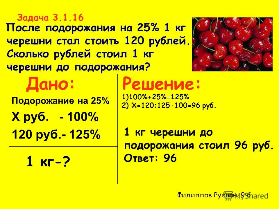 Задача 3.1.16 После подорожания на 25% 1 кг черешни стал стоить 120 рублей. Cколько рублей стоил 1 кг черешни до подорожания? Решение: Подорожание на 25% X руб. - 100% 120 руб.- 125% Дано: 1 кг-? 1)100%+25%=125% 2) Х=120:125·100=96 руб. 1 кг черешни