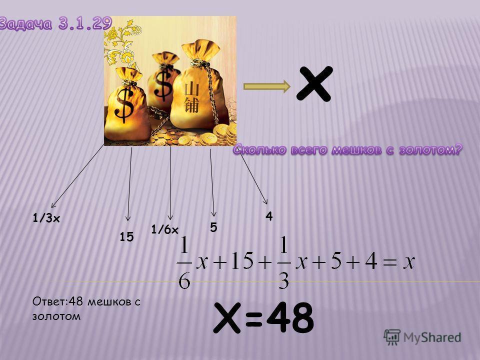 х 1/3x 15 1/6x 5 4 Х=48 Ответ:48 мешков с золотом