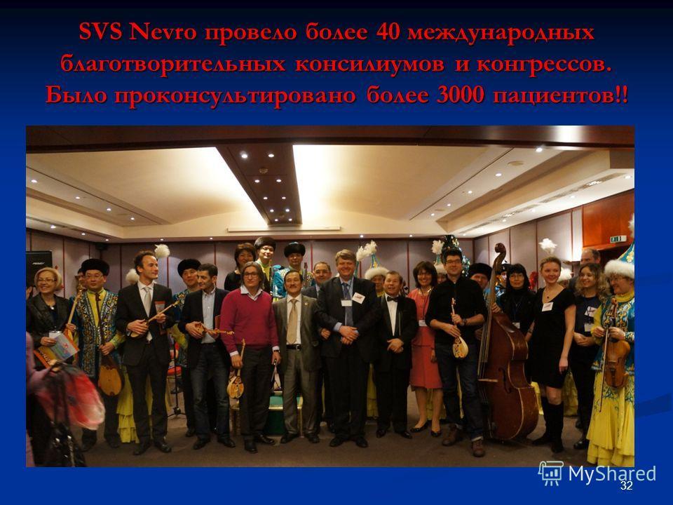 SVS Nevro провело более 40 международных благотворительных консилиумов и конгрессов. Было проконсультировано более 3000 пациентов!! 32