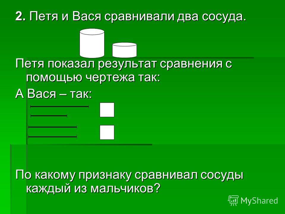 2. Петя и Вася сравнивали два сосуда. Петя показал результат сравнения с помощью чертежа так: А Вася – так: По какому признаку сравнивал сосуды каждый из мальчиков?