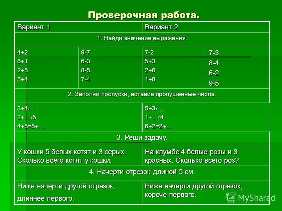 Проверочная работа. Вариант 1 Вариант 2 1. Найди значение выражения. 4+26+12+55+49-76-38-57-47-25+32+61+87-38-46-29-5 2. Заполни пропуски, вставив пропущенные числа. 3+4…2+…54+5=5+…5+3…1+…46+2=2+… 3. Реши задачу. У кошки 5 белых котят и 3 серых. Скол