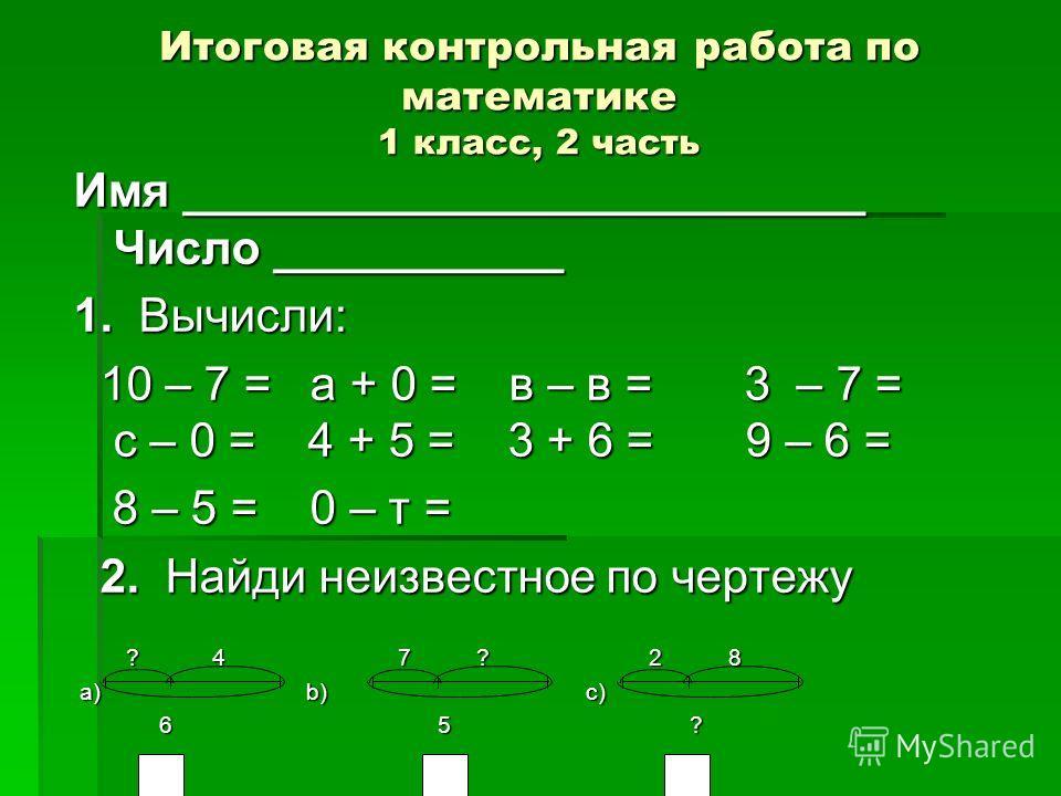 Итоговая контрольная работа по математике 1 класс, 2 часть Имя __________________________ Число ___________ 1. Вычисли: 10 – 7 = а + 0 = в – в = 3 – 7 = с – 0 = 4 + 5 = 3 + 6 = 9 – 6 = 10 – 7 = а + 0 = в – в = 3 – 7 = с – 0 = 4 + 5 = 3 + 6 = 9 – 6 =