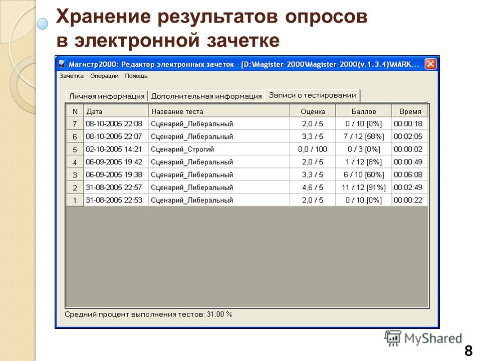 8 Хранение результатов опросов в электронной зачетке