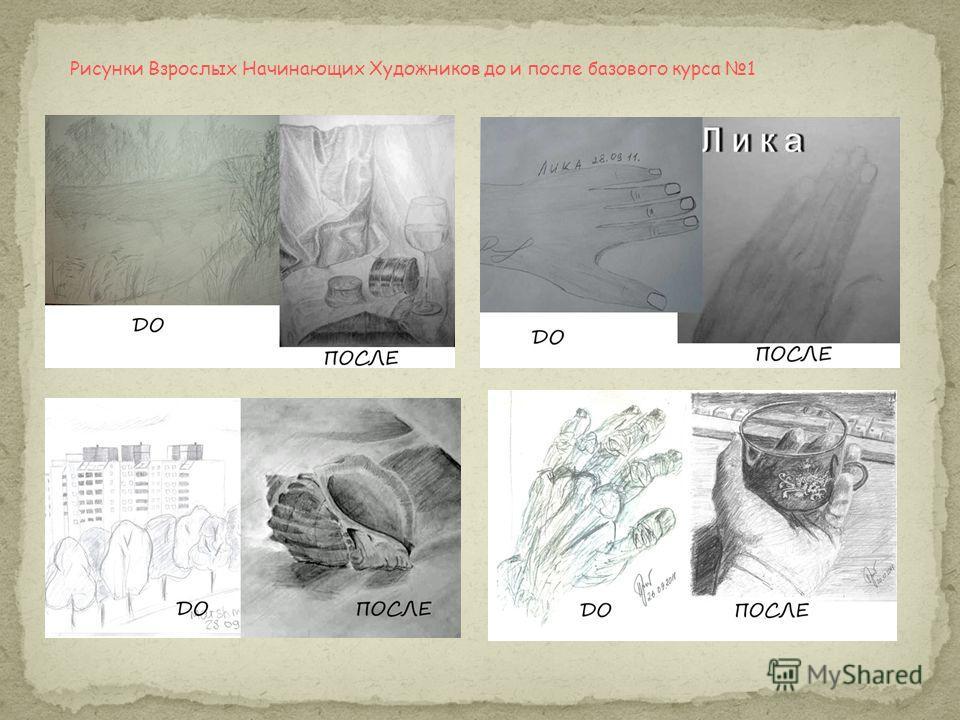 Рисунки Взрослых Начинающих Художников до и после базового курса 1
