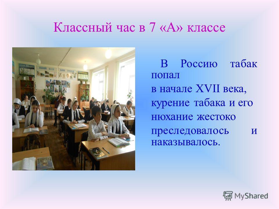 Классный час в 7 «А» классе В Россию табак попал в начале XVII века, курение табака и его нюхание жестоко преследовалось и наказывалось.