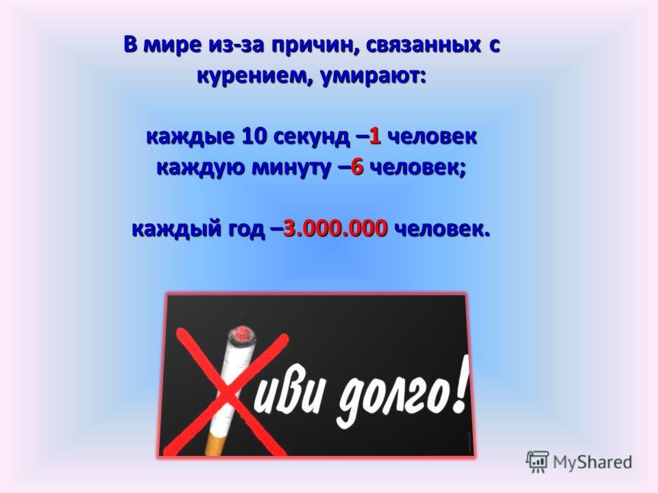 В мире из-за причин, связанных с курением, умирают: каждые 10 секунд –1 человек каждую минуту –6 человек; каждый год –3.000.000 человек.