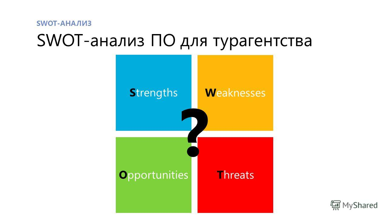 SWOT-АНАЛИЗ SWOT-анализ ПО для турагентства Strengths Weaknesses OpportunitiesThreats ?