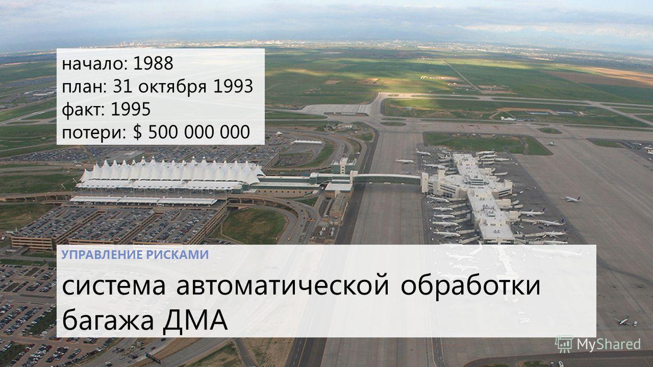УПРАВЛЕНИЕ РИСКАМИ система автоматической обработки багажа ДМА начало: 1988 план: 31 октября 1993 факт: 1995 потери: $ 500 000 000