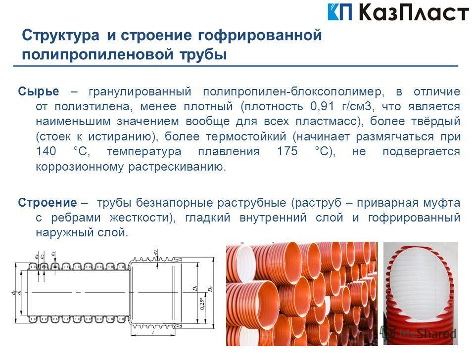 Структура и строение гофрированной полипропиленовой трубы Сырье – гранулированный полипропилен-блоксополимер, в отличие от полиэтилена, менее плотный (плотность 0,91 г/см3, что является наименьшим значением вообще для всех пластмасс), более твёрдый (