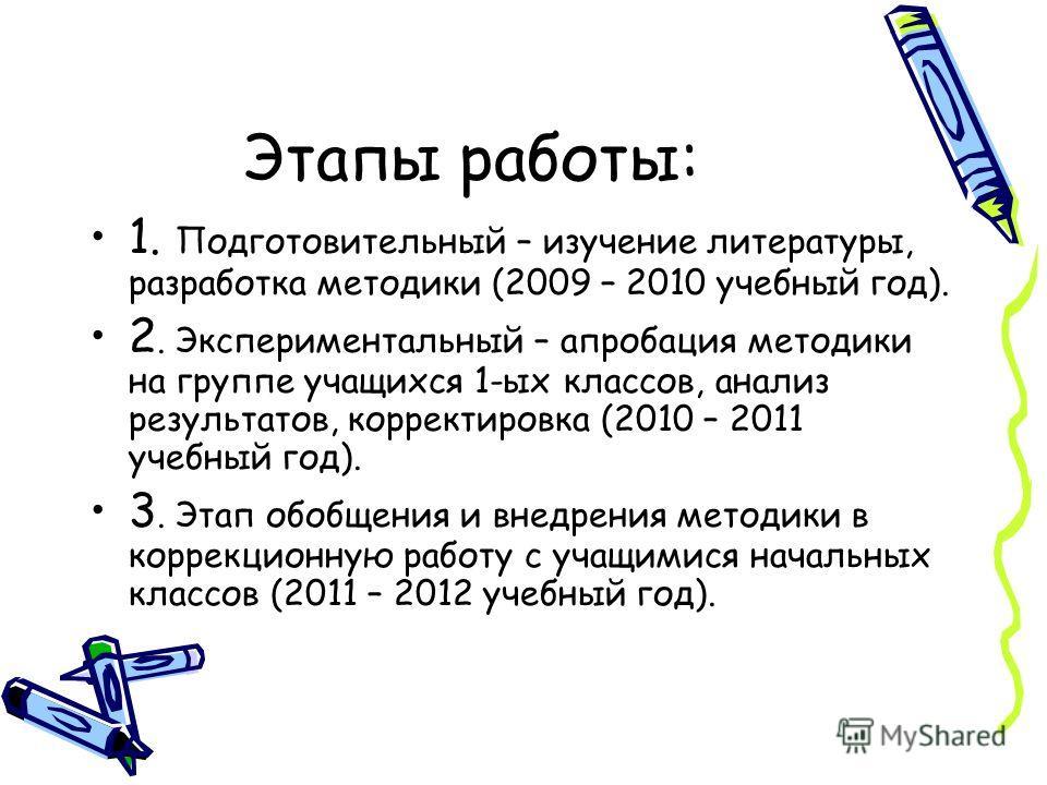 Этапы работы: 1. Подготовительный – изучение литературы, разработка методики (2009 – 2010 учебный год). 2. Экспериментальный – апробация методики на группе учащихся 1-ых классов, анализ результатов, корректировка (2010 – 2011 учебный год). 3. Этап об