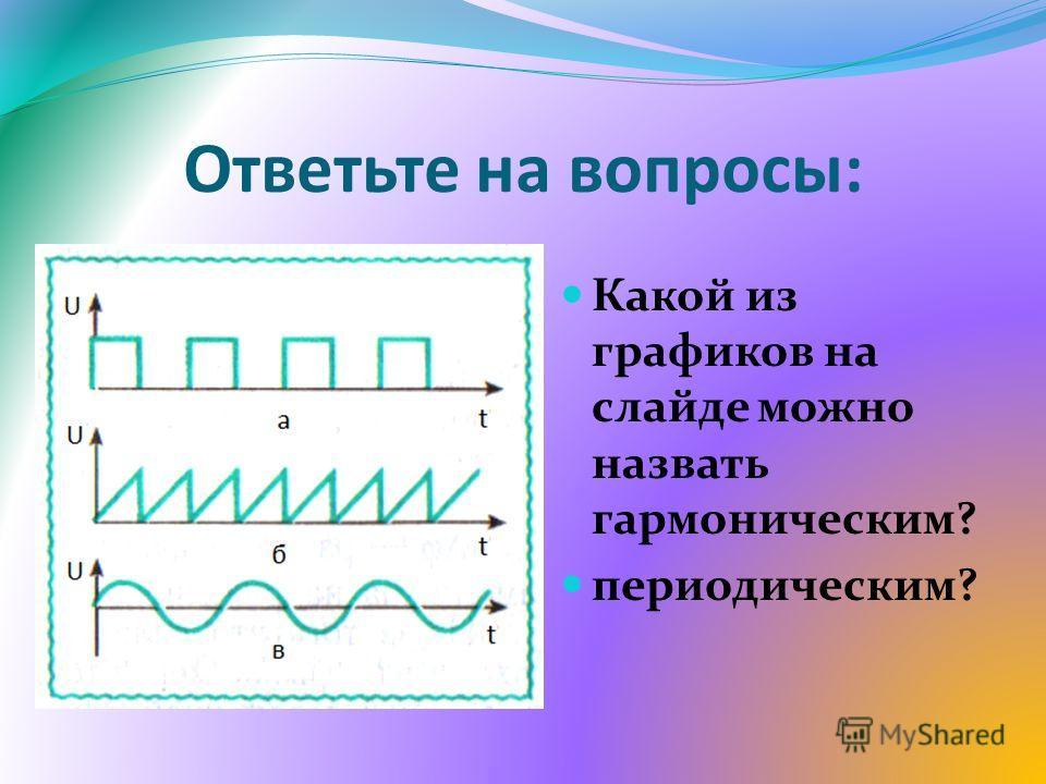 Ответьте на вопросы: Какой из графиков на слайде можно назвать гармоническим? периодическим?