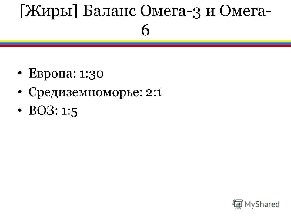 [Жиры] Баланс Омега-3 и Омега- 6 Европа: 1:30 Средиземноморье: 2:1 ВОЗ: 1:5