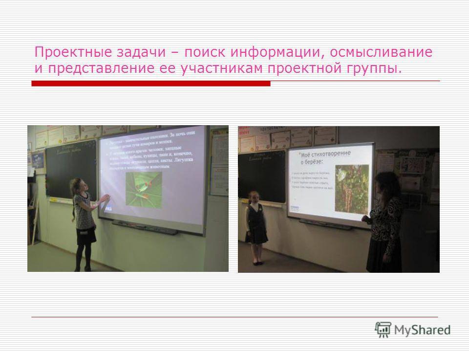 Проектные задачи – поиск информации, осмысливание и представление ее участникам проектной группы.