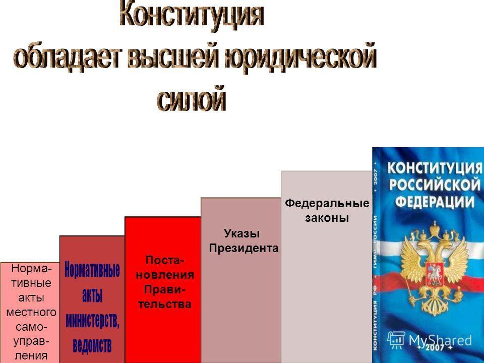 Норма- тивные акты местного само- управ- ления Поста- новления Прави- тельства Указы Президента Федеральные законы