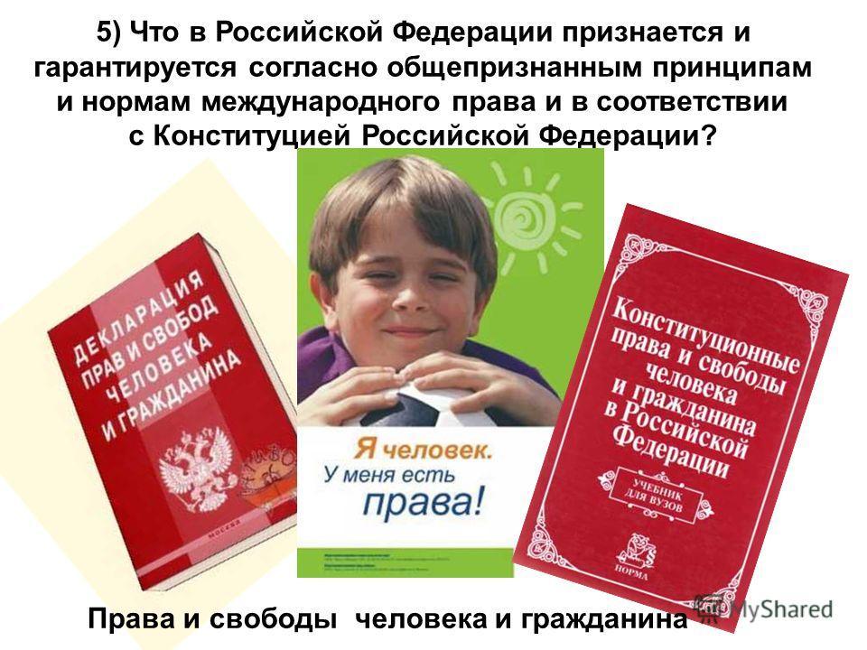 5) Что в Российской Федерации признается и гарантируется согласно общепризнанным принципам и нормам международного права и в соответствии с Конституцией Российской Федерации? Права и свободы человека и гражданина