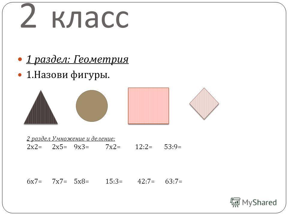 2 класс 1 раздел : Геометрия 1. Назови фигуры. 2 раздел Умножение и деление : 2 х 2= 2 х 5= 9 х 3= 7 х 2= 12:2= 53:9= 6 х 7= 7 х 7= 5 х 8= 15:3= 42:7= 63:7=