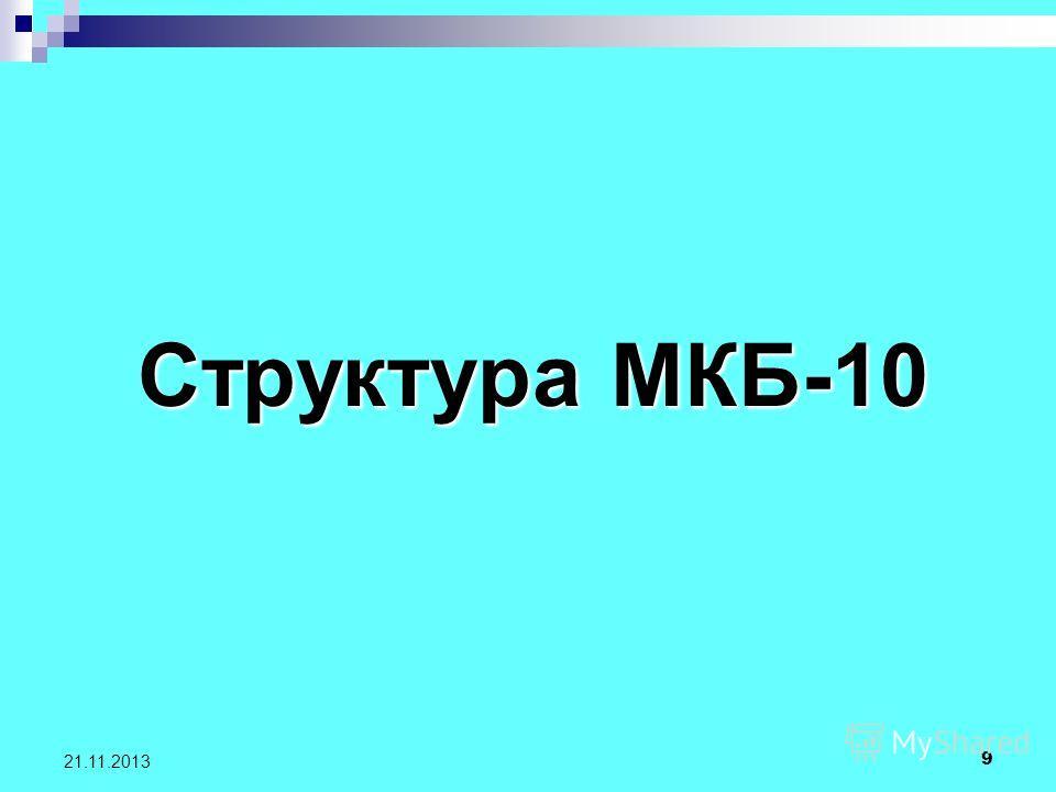 9 21.11.2013 Структура МКБ-10 Структура МКБ-10