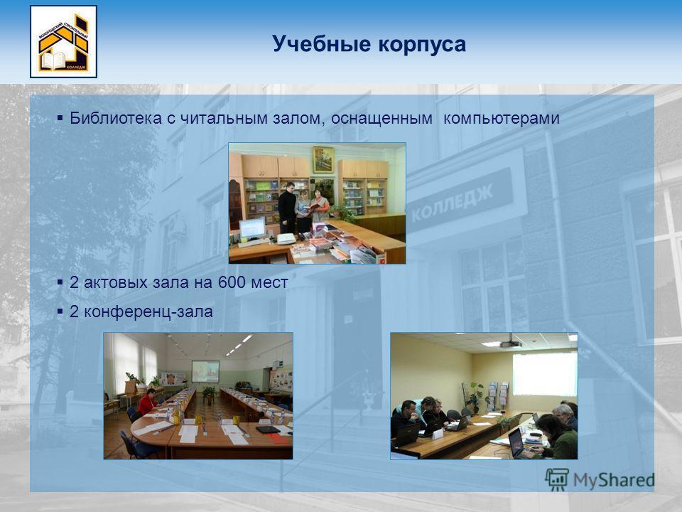 Учебные корпуса Библиотека с читальным залом, оснащенным компьютерами 2 актовых зала на 600 мест 2 конференц-зала