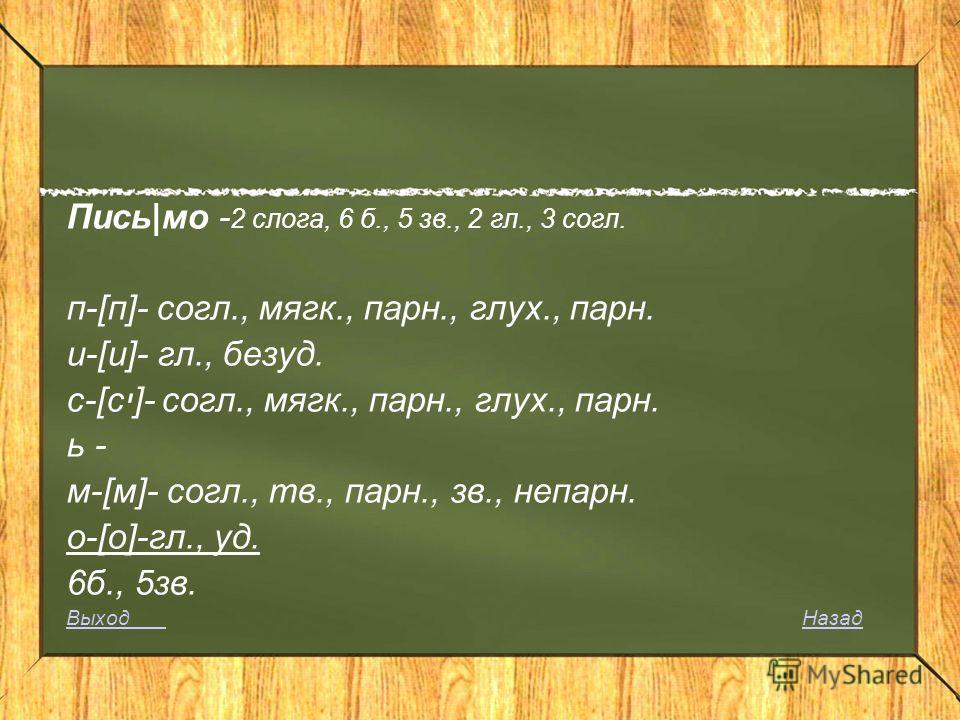Пись|мо - 2 слога, 6 б., 5 зв., 2 гл., 3 согл. п-[п]- согл., мягк., парн., глух., парн. и-[и]- гл., безуд. c-[сי]- согл., мягк., парн., глух., парн. ь - м-[м]- согл., тв., парн., зв., непарн. о-[о]-гл., уд. 6б., 5зв. Выход Выход НазадНазад
