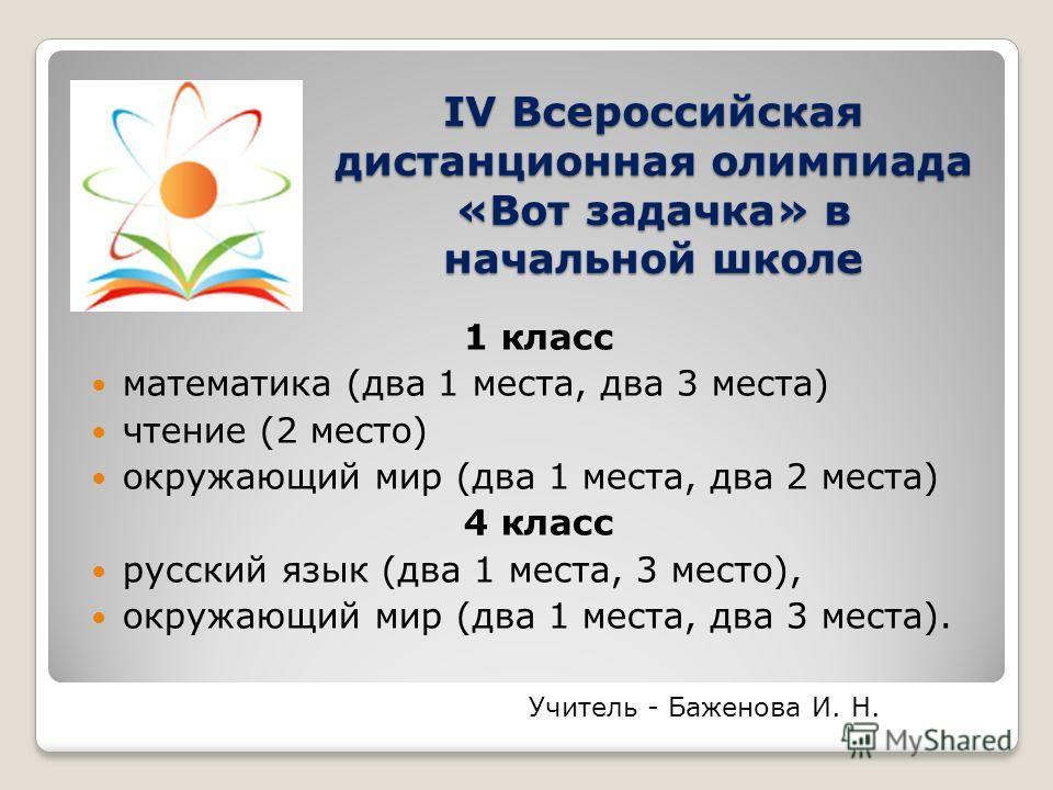 IV Всероссийская дистанционная олимпиада «Вот задачка» в начальной школе 1 класс математика (два 1 места, два 3 места) чтение (2 место) окружающий мир (два 1 места, два 2 места) 4 класс русский язык (два 1 места, 3 место), окружающий мир (два 1 места