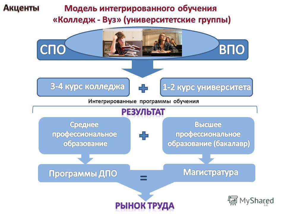 Интегрированные программы обучения = 12