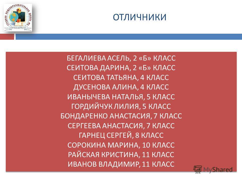 ОТЛИЧНИКИ БЕГАЛИЕВА АСЕЛЬ, 2 « Б » КЛАСС СЕИТОВА ДАРИНА, 2 « Б » КЛАСС СЕИТОВА ТАТЬЯНА, 4 КЛАСС ДУСЕНОВА АЛИНА, 4 КЛАСС ИВАНЫЧЕВА НАТАЛЬЯ, 5 КЛАСС ГОРДИЙЧУК ЛИЛИЯ, 5 КЛАСС БОНДАРЕНКО АНАСТАСИЯ, 7 КЛАСС СЕРГЕЕВА АНАСТАСИЯ, 7 КЛАСС ГАРНЕЦ СЕРГЕЙ, 8 КЛА