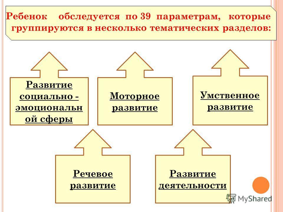 Ребенок обследуется по 39 параметрам, которые группируются в несколько тематических разделов: Развитие социально - эмоциональн ой сферы Развитие деятельности Речевое развитие Моторное развитие Умственное развитие