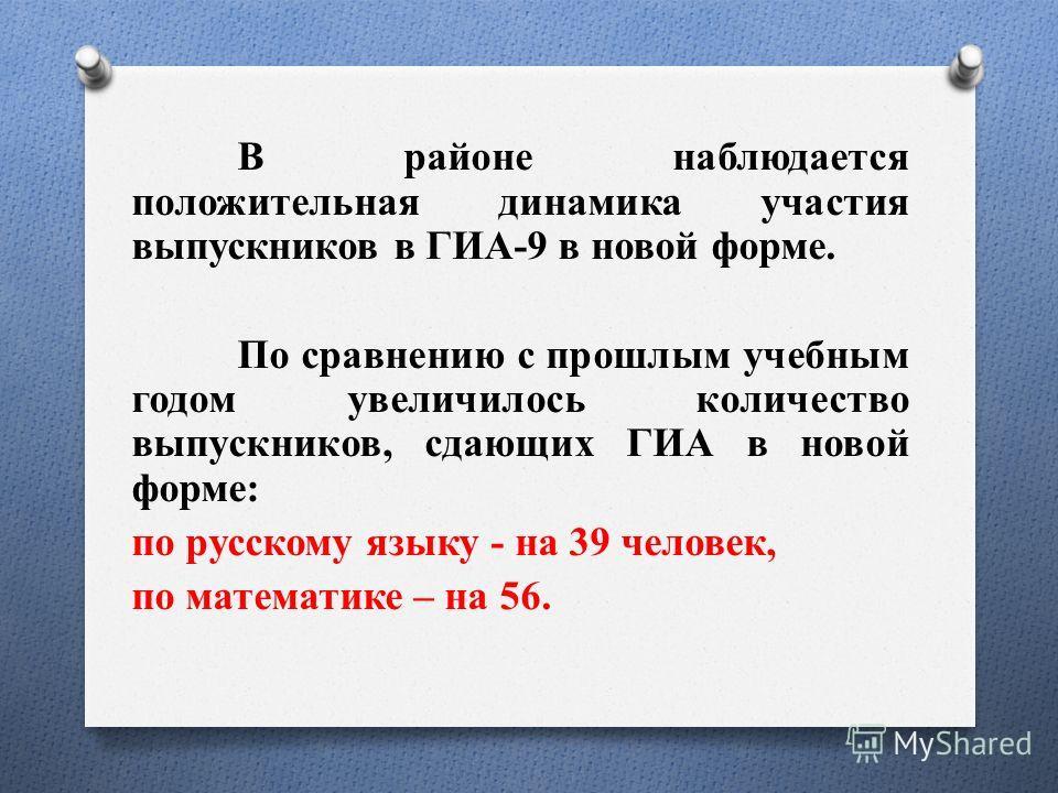 В районе наблюдается положительная динамика участия выпускников в ГИА-9 в новой форме. По сравнению с прошлым учебным годом увеличилось количество выпускников, сдающих ГИА в новой форме: по русскому языку - на 39 человек, по математике – на 56.