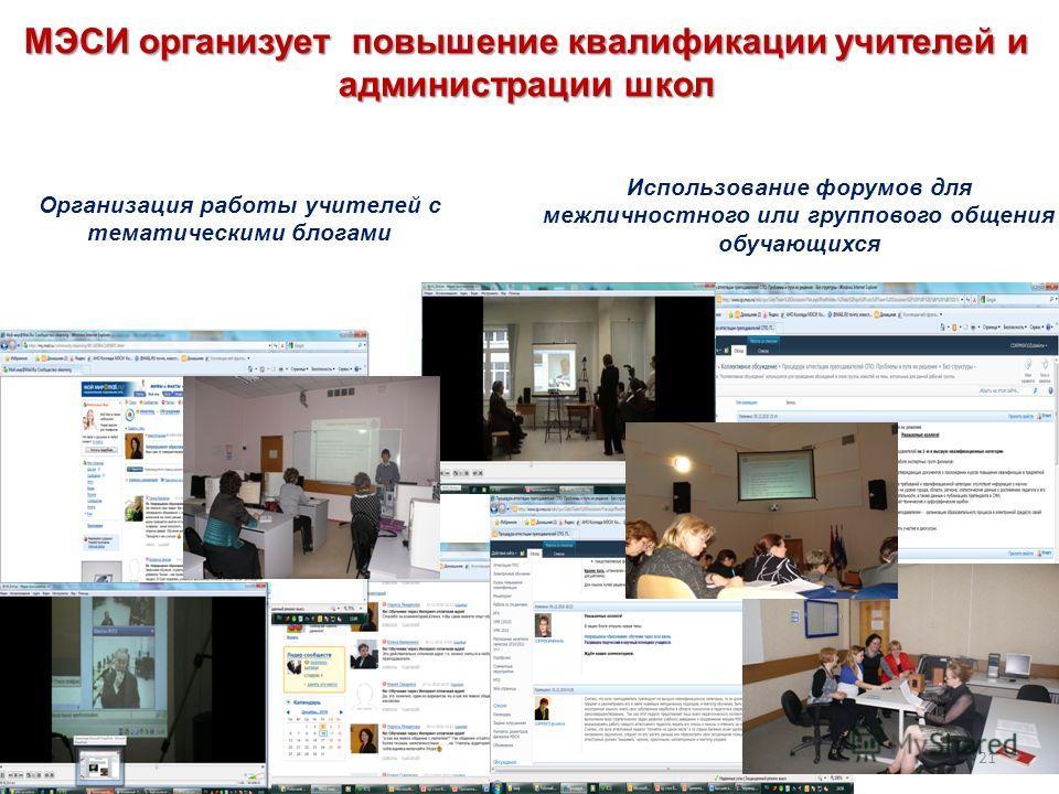 Организация работы учителей с тематическими блогами Использование форумов для межличностного или группового общения обучающихся МЭСИ организует повышение квалификации учителей и администрации школ 21
