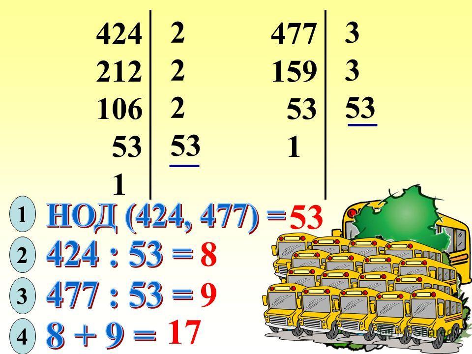 424 212 106 53 1 2 2 2 477 159 53 1 3 3 1 2 8 3 9 4 17
