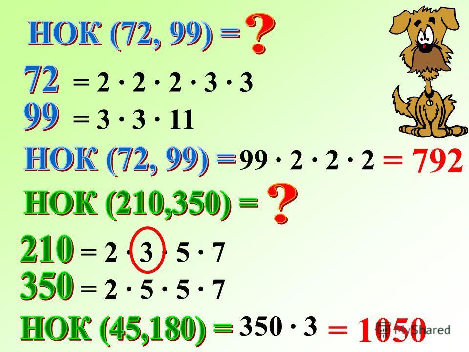 = 2 · 2 · 2 · 3 · 3 = 3 · 3 · 11 99 · 2 · 2 · 2 = 792 = 2 · 3 · 5 · 7 = 2 · 5 · 5 · 7 = 1050 350 · 3