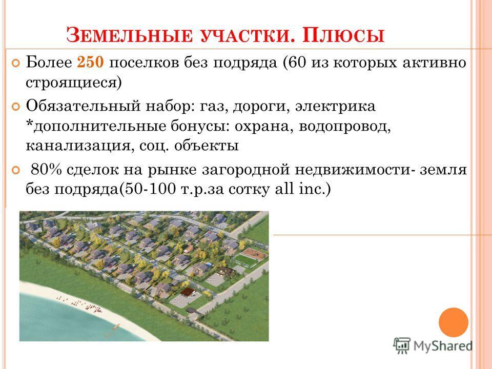 З ЕМЕЛЬНЫЕ УЧАСТКИ. П ЛЮСЫ Более 250 поселков без подряда (60 из которых активно строящиеся) Обязательный набор: газ, дороги, электрика *дополнительные бонусы: охрана, водопровод, канализация, соц. объекты 80% сделок на рынке загородной недвижимости-