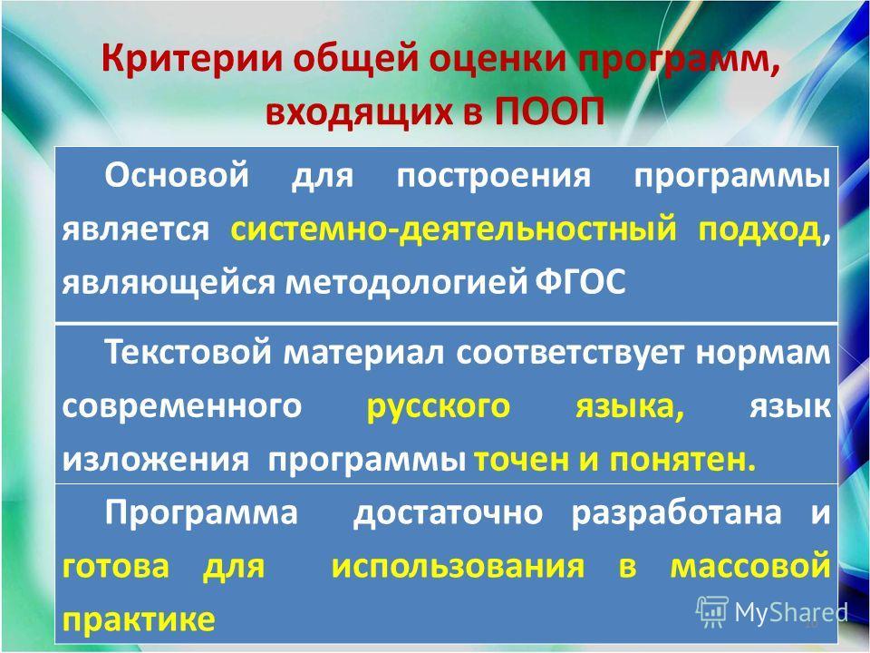Критерии общей оценки программ, входящих в ПООП Основой для построения программы является системно-деятельностный подход, являющейся методологией ФГОС Текстовой материал соответствует нормам современного русского языка, язык изложения программы точен