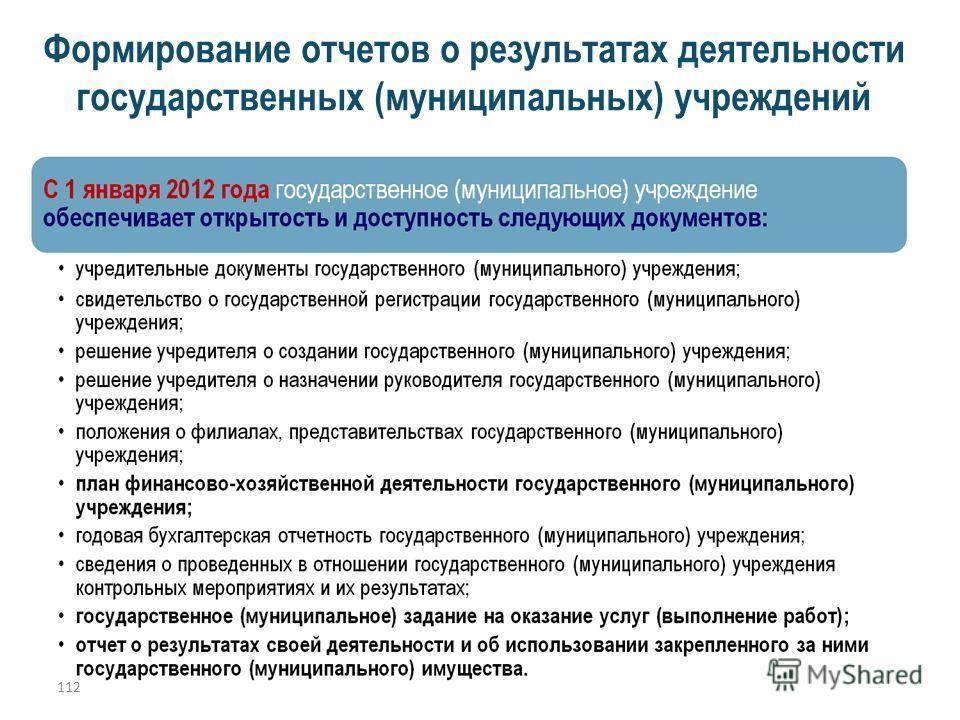 112 Формирование отчетов о результатах деятельности государственных (муниципальных) учреждений